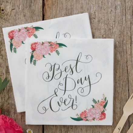 "Boho Floral Paper Napkins ""Best Day Ever"" -pack of 20"